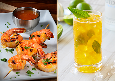 The crisp and bubbly Mango Refresco, featuring imported Brazilian Moscato, icy vodka, and fresh lime juice perfectly complement the tropical flavors of Grilled Spiced Shrimp skewers – jumbo shrimp expertly grilled with passion fruit sauce.