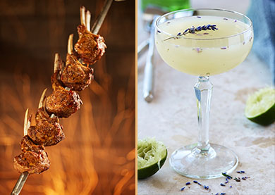 Lavender, tangy lime and cool mint combine in our summer cocktail, the Lavender Southside. When paired with succulent Lamb Chops, the crisp, seasonal sip complements the intricate taste of tender lamb.