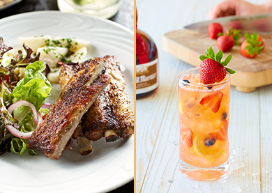 The sweet and tart combination of blueberries and strawberries with Veev Acai spirit in Fogo's Superfruit Lemonade pairs perfectly with tender, marinated pork ribs to take your taste buds on a savory adventure.
